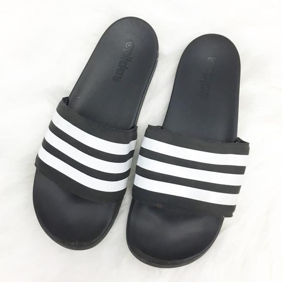 f18e10e42 adidas Shoes | Slippers Slides Black White Striped Logo | Poshmark